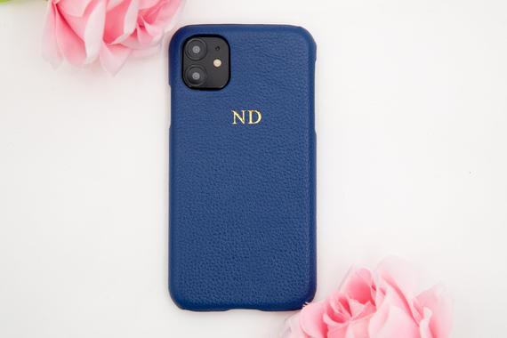 Navy blue pebble leather phone case embossed personalised