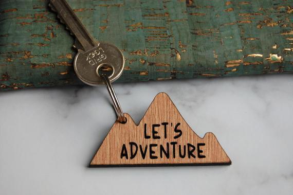 Let's adventure keyring, travel wooden keyring, mountain