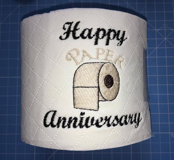 Novedad bordado rollo de inodoro, aniversario de papel