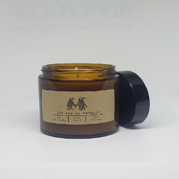 Usted es mi penguin 4oz glass jar candle hand poured with