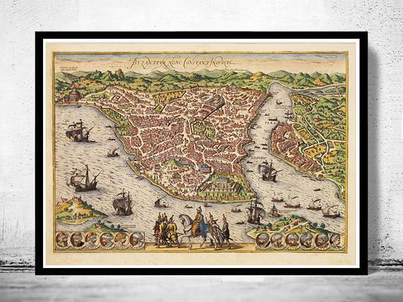 Vista antigua del mapa panorámico de constantinopla