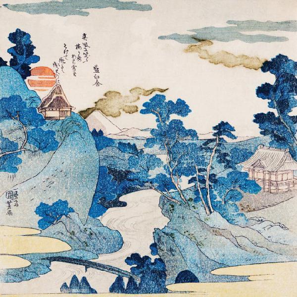 Vista nocturna del monte fuji - impresión de arte japonés