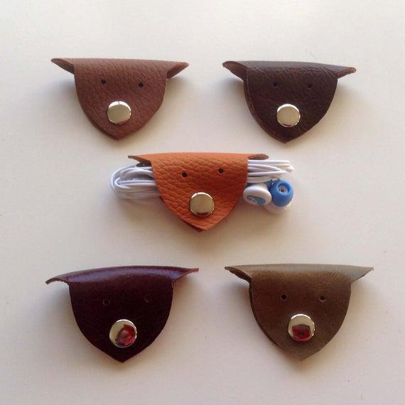 Cuero animal auriculares envoltura auricular útil cable de