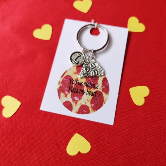 Pizza my heart, pizza keychain, mejor amigo llavero, regalos