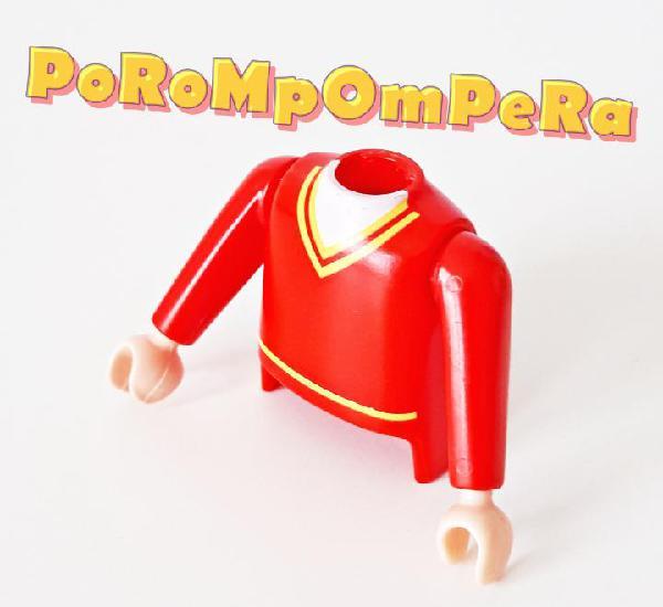 Playmobil torso hombre rojo dibujo cuello jersey + brazos a