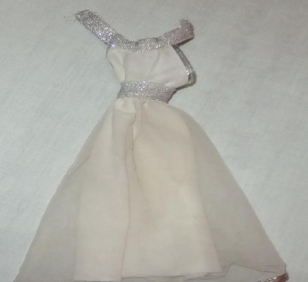 Vestido blanco del conjunto casino de barbie congost,mattel
