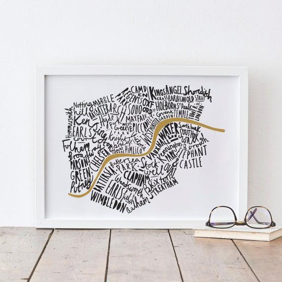 A4 london print - mapa de londres - cartel de londres -