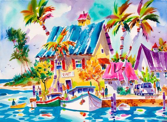 Beach art print, beach painting, key west art, tropical