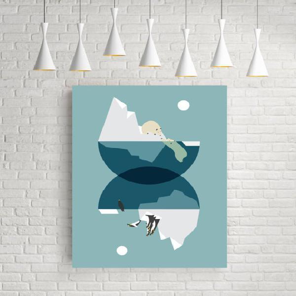 Norte y sur, arte abstracto geométrico, impresiones azules,