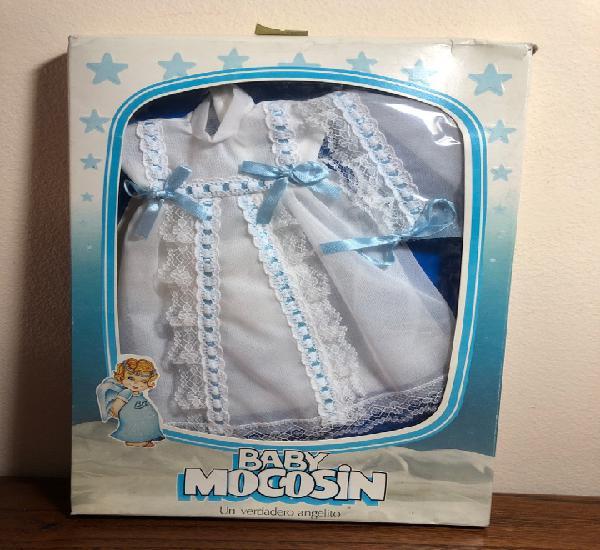 Caja blister conjunto bautizo lazos azules muñeca baby