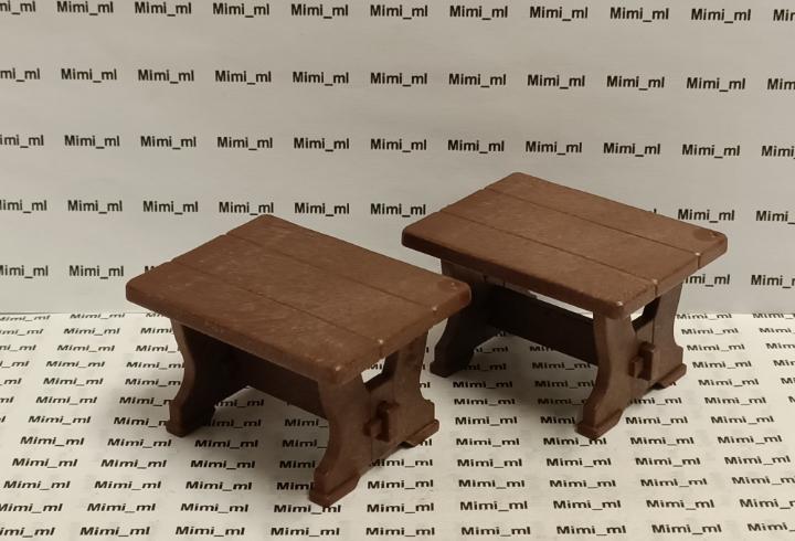 Playmobil 2 mesas pequeñas madera medieval taberna