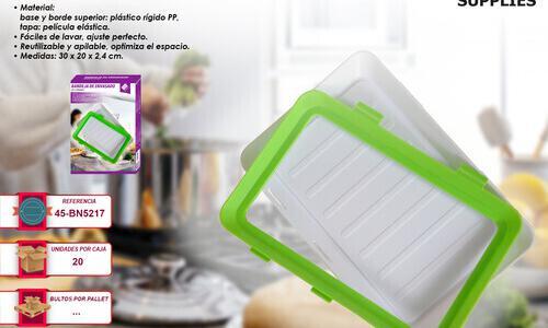 3 bandejas con tapa para conservar alimentos frescos nevera