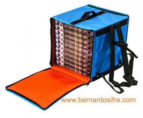 Bolsa pizza mochila azul cajas 33x33