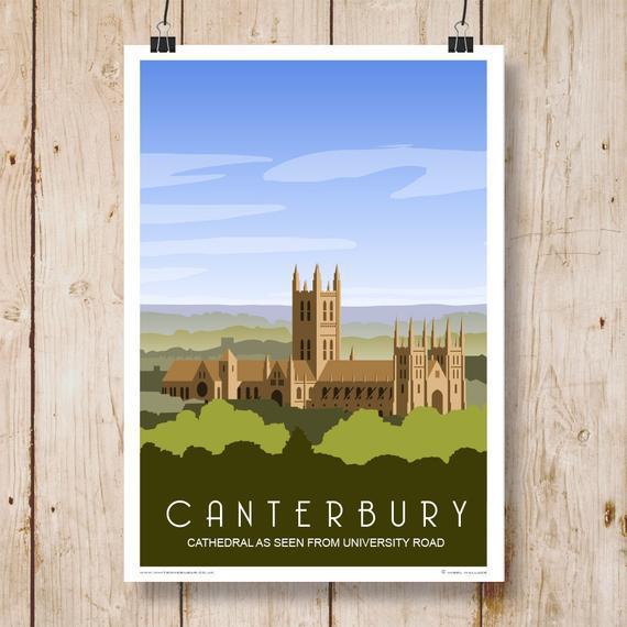 Catedral de canterbury de university road, verde. cartel de