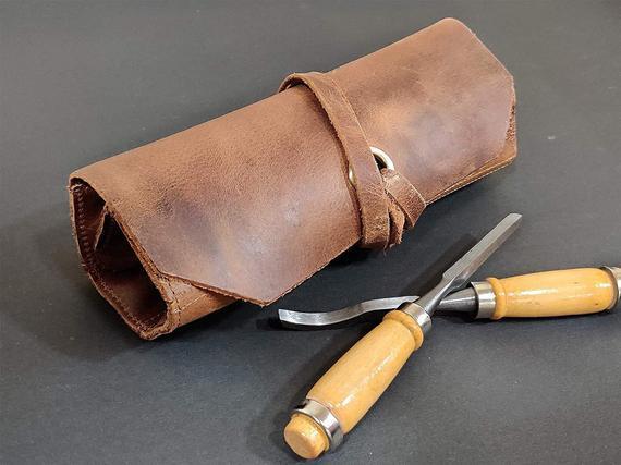 Cuero herramienta rollo de cuero bolsa de cuero herramienta