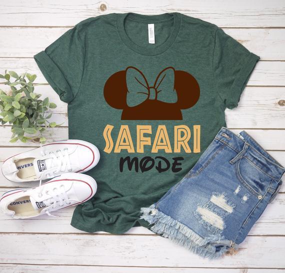 Modo safari animal kingdom minnie unisex camiseta - disney