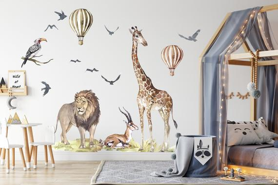 Xxl big animal watercolor wall decal set for kids, removable