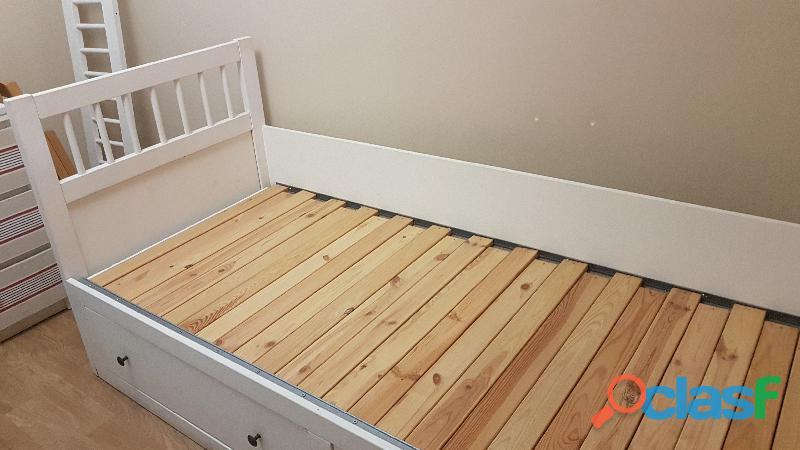 Cama nido diván blanco + colchón 1