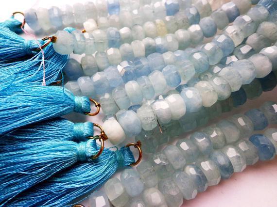 Aaa natural aguamarina gemstone perlas borlas, 9x6mm