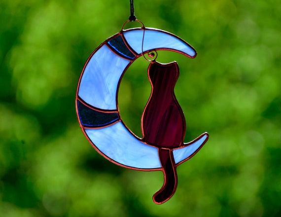 Mancha vidrio gato negro en la luna, regalo del amante del
