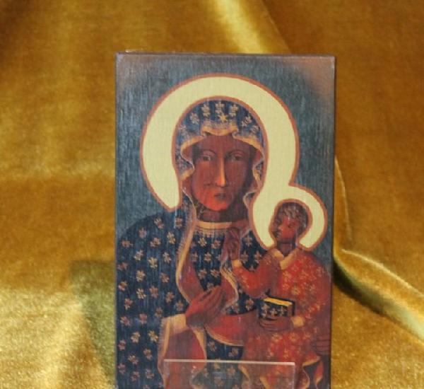 Icono, virgen de czestochowska, pintado a mano, 16 x 10 cm