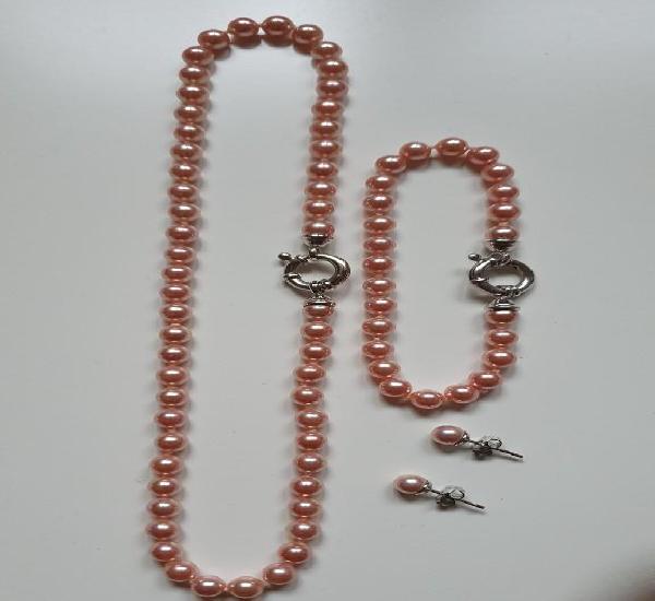 Majorica collar pulsera y pendientes rosa