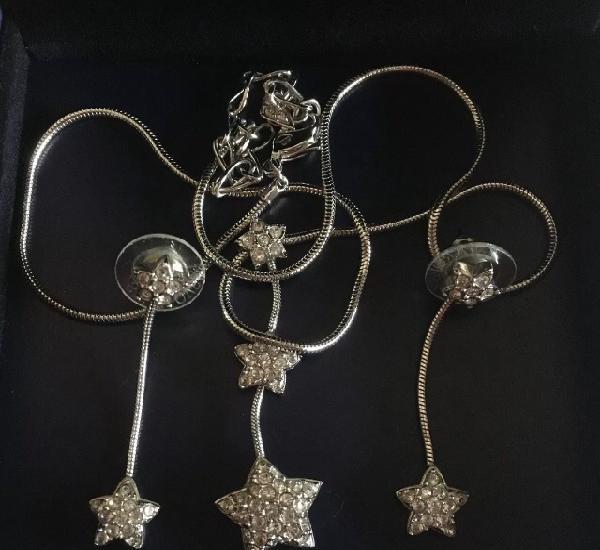 Original swarovski conjunto colgante pendientes estrellas
