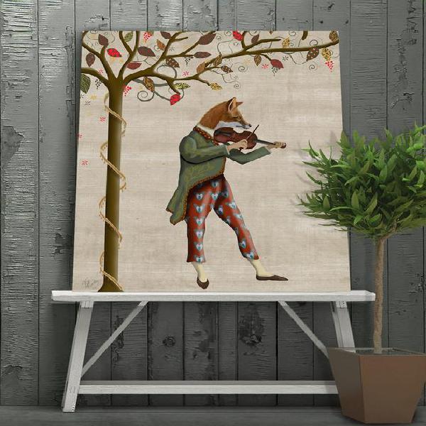 Fox print - fox minstrel violin gift music room decor music