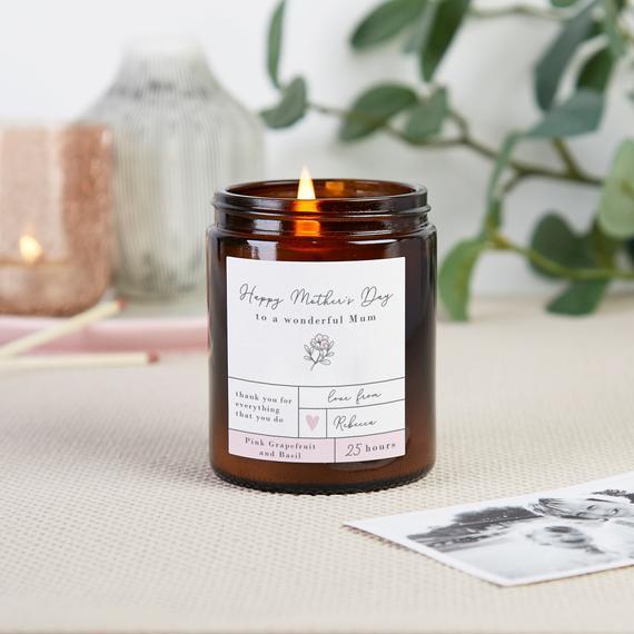 Vela de soja personalizada del regalo del día de la madre