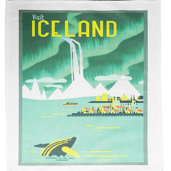 Visita islandia- cartel de viaje de estilo retro toalla