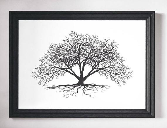 Wall art, tree print, black and white, prints, wall art