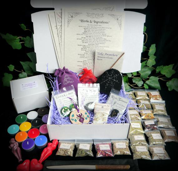 Witches boxed starter kit with willow wand herbs candles