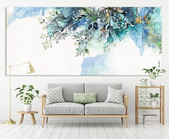 Extra large wall art, original abstract painting, blue wall