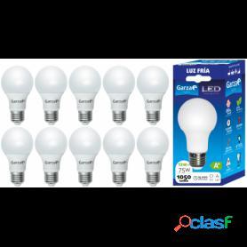 Pack 10 bombillas garza led de bajo consumo estándar a60, e27, 1060 lúmenes y 12 w de potencia