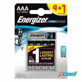 Energizer max plus, pilas alcalinas aaa lr03, blister 4 + 1 unidades de alta tecnología y rendimiento
