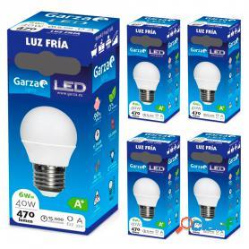 Garza lighting, bombilla led esférica e27, 5w, 220º, 400 lúmenes, 6500 k, luz fría. pack de 5 unidades