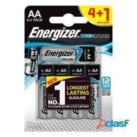 Energizer max plus mignon, pilas alcalinas aa lr6, blister 4 + 1 unidades de alta tecnología y rendimiento