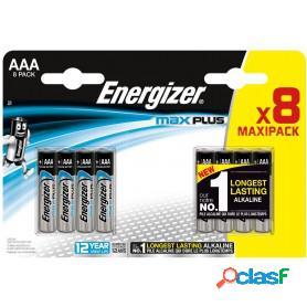 Energizer max plus, pilas alcalinas aaa lr03, blister 8 unidades de alta tecnología y rendimiento