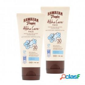 """Hawaiian tropic, crema fotoprotectora cara """"face aloha care"""" spf 30, protección sin obstrucción poros, 90 ml. pack 2 unidades"""