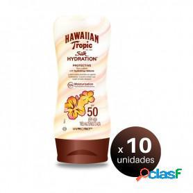 Hawaiian tropic silk hydration, loción spf50 con cintas de seda hidratantes y resistente al agua, 180 ml. pack 10 unidades