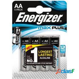 Energizer max plus mignon, pilas alcalinas aa lr6, blister 4 unidades de alta tecnología y rendimiento