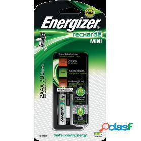 Energizer mini, cargador de pilas compatible con aa y aaa. incluye 2 pilas recargables aaa de 700 mah