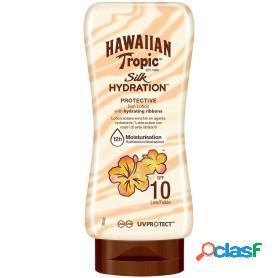 Hawaiian tropic loción solar protectora con cintas de seda hidratantes y resistente al agua, 180 ml
