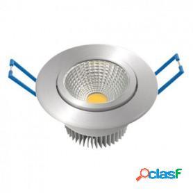 Foco downlight garza led empotrable, cob direccionable, aluminio, 5w, 60º, 400 lúmenes, 30k, luz cálida