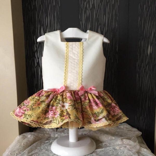 Vestido talle bajo flores rosa y amarillo artesanal