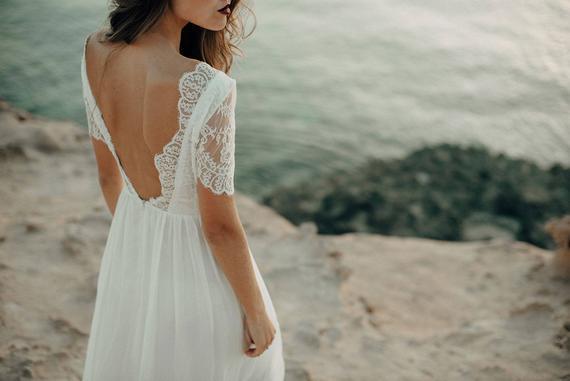 Beach wedding dress,boho dress, wedding dress bohemian, open