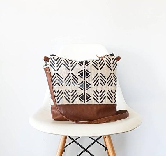 Bolso bandolera de impresión azteca, bolso messenger, bolsa