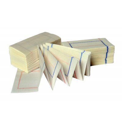 Caja de 100 paquetes de 300 servilletas zigzag de 14x14cm