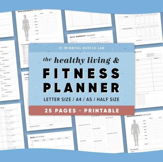 Paquete imprimible de fitness planner, planificador de