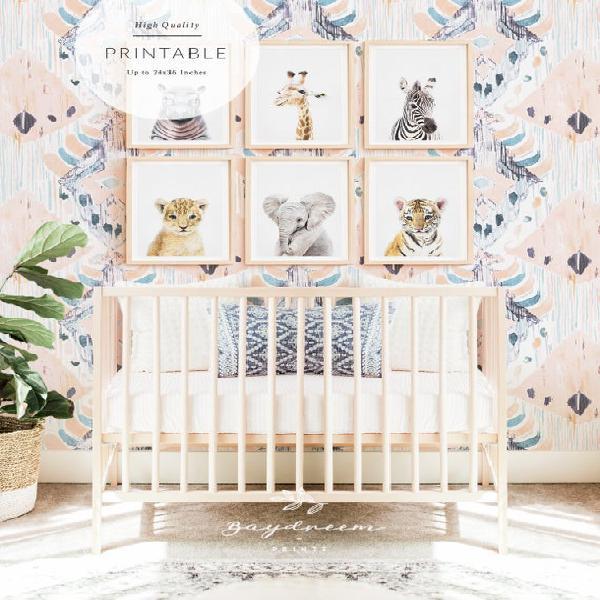 Safari baby animal prints, safari nursery art, baby safari